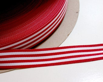 Red and White Stripe Grosgrain Ribbon 3/4 inch wide x 10 yards, Grosgrain Striped Ribbon