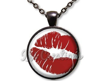 25% OFF - Hot Red Lips Kiss Valentine Glass Dome Pendant or with Chain Link Necklace HD198
