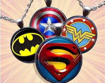 Super Hero Comic Glass Pendant Necklace Jewelry Bundle Gift Party Favors Grab Bag Bulk Discount