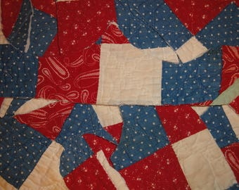Red White And Blue Antique Quilt Pieces | 10 Old Quilt Scrap Pieces | Vintage Quilt Pieces | Cutter Quilt Scrap |  Primitve Quilt Pieces