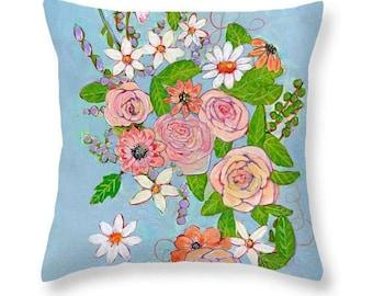 Floral Throw Pillow, Art Pillow, Flowers, Daisies, Roses, Blue, Botanical, Pink, Cotton Pillow