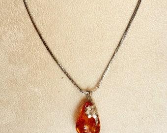 Amber Pendant in Sterling Silver with Floral Accent and Sterling Chain