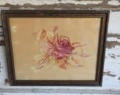 Vintage Floral Painting Framed Rose Antique Frame - Signed Betty Routzahn
