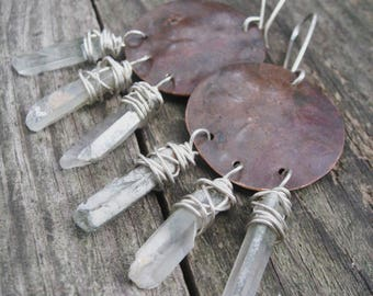 Jerome Arizona - Raw Lodolite Quartz Point Earrings Reclaimed Copper Moons Natural Patina Jane Plain Organic Roots Talisman Jewelry