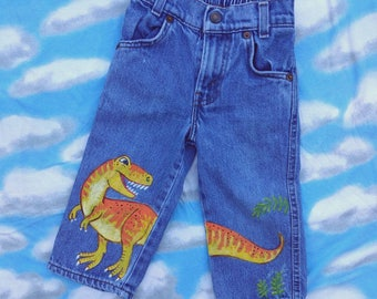 Boys Jeans/Kids Fashion/Art For Kids/Dinosaur Art/T-Rex/Upcycled Art/Painted Fabric/Painted Denim