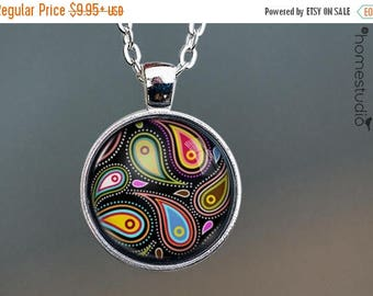 ON SALE - Paisley (BLK) : Glass Dome Necklace, Pendant or Keychain Key Ring. Gift Present metal round art photo jewelry by HomeStudio