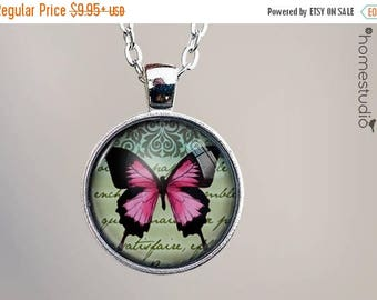 ON SALE - Papillon (PNK) : Glass Dome Necklace, Pendant or Keychain Key Ring. Gift Present metal round art photo jewelry by HomeStudio