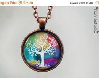 ON SALE - Tree of Life : Glass Dome Necklace, Pendant or Keychain Key Ring. Gift Present metal round art photo jewelry by HomeStudio