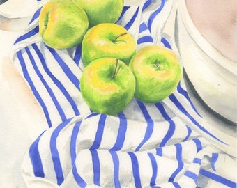 """Fine Art Giclee Print of the Original Watercolor Painting """"Granny Smith"""""""