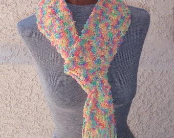 Multi color ribbon yarn scarf//knit ribbon yarn scarf//bright color scarf//extra long scarf//hand knitted scarf//woman's scarf//gift scarf