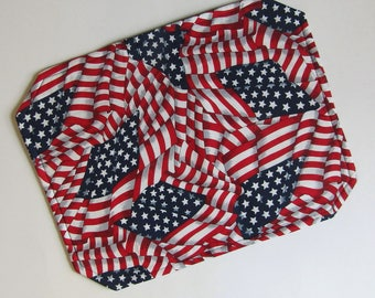 Placemat, Reversible, Insulated, American Flag, Patriotic, Red, White, Blue, Flags, Table Linens, Table Placemats, Single Placemat