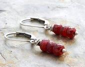Dangle Red Gemstone Earrings - July Birthstone Earrings - Sterling Silver - Lever Back - Short Dangle Ruby Earrings - Lightweight - #4877