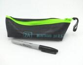 Pencil case rubber recycled bike inner tube neon green zipper