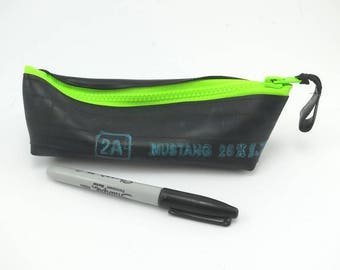 Pencil case rubber recycled bike inner tube neon green zipper