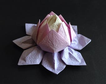 Origami Lotus Flower - Light Purple Shades, Japanese Special Momigami, Anniversary, Hostess Gift, Birthday Gift, Table Decor, Get Well