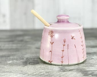 Ceramic honey pot. Lavender pink honey pot. Porcelain honey pot. Bees, hand drawn wildflowers + wooden honey dipper. Bee keeper present.