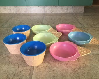 Vintage Ice Cream Cone Shaped Dishes Bowls Cups