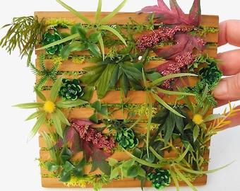 Dollhouse Miniature Wall Garden, Faux Mini Living Vertical Garden, Hand Made, One Inch Scale, Modern Miniatures, Cedar Panel, OOAK, Handmade