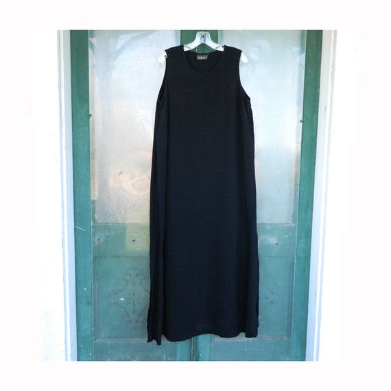 Beppa Sleeveless Slip Dress -XL- Black Linen