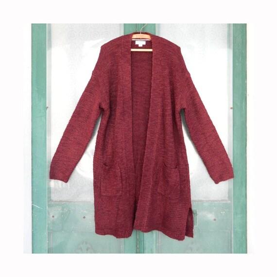 Ava & Viv Long Cardigan Sweater -1X- Merlot Acrylic/Poly