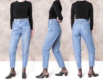 HIGH WAIST JEANS vintage women Lee Riders Skinny 90s pants Stone wash / Size 8 / waist 29 / Denim