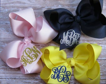 Custom Glitter Initial Monogram Large 6 inch Grosgrain Personalized Boutique Hair Bow -You choose the ribbon color & glitter monogram color