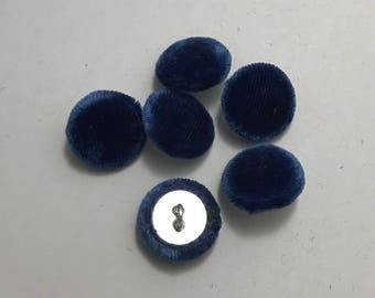 """Lapis Blue SILK VELVET Fabric Buttons - Hand Made Buttons - set of 6 - 5/8"""""""