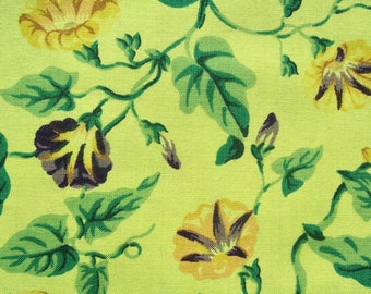 Vintage FABRIC Duralee Decorator Sample Hand Dyed Green Morningglory
