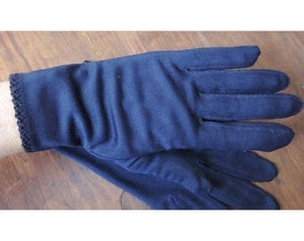 Vintage 1960s Navy Nylon Gloves with Stitched Edge, size 7 to 7-1/2