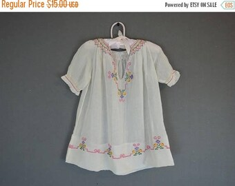20% Sale - Vintage Child's Embroidered Peasant Dress, Hungary 1920s 1930s, As Is, Damaged with Flaws