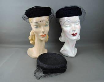 3 Vintage Pillbox Hats 1950s 1960s, Black Navy, Velvet Straw, Some issues