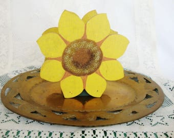vintage sunflower napkin holder painted wood mail file