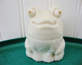 vintage warty frog toad solid scent cachet jar avon solid perfume enchanted frog to a wild rose