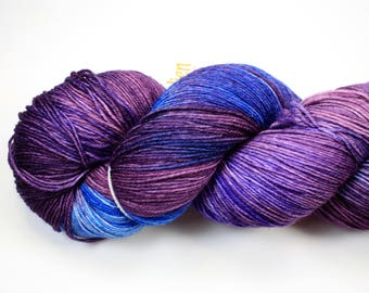 Blueberry Buckle--hand dyed heavy lace/light sock weight yarn, superwash Merino(822ds/150gm)