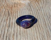 Glass Ring with Cobalt Blue and Sparkly Amber Purple Color Size 5 1/2 Hand Sculpted