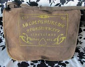 Gothic Ouija Goth Punk Steampunk Messenger Crossbody Bag Backpack in Brown and Gold - Ready to Ship - Warning Label Creations