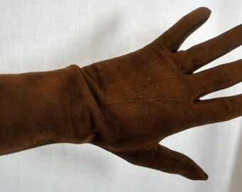 Brown Suede Leather Kid Gloves - Size 6-3/4
