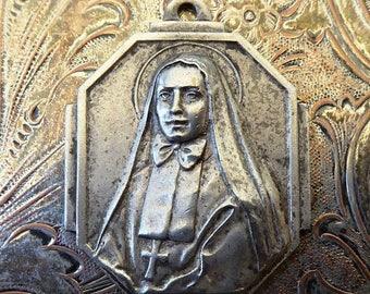 CLEARANCE SALE Silver 1940's Basque Religious Medal Saint Frances Xavier Cabrini Patron Of Immigrants, First American Saint Catholic Pendant