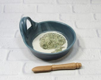 Brie Baker - Ceramic Cheese Baker - Blue and White Brie Baker - Pottery Brie Baker - dip dish - cheese plate - appetizer dish - baking dish