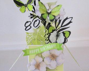 80th Birthday card - Box Card - Milestone birthday - Pop Up Card - Card in a Box