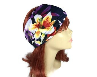 Floral Yoga Headband Wide Floral Head Wrap Navy Blue Floral Headband Wide Flower Headband Flower Print Headband Summer Headwrap Swim Turban