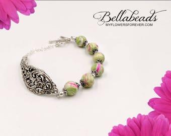 Cremation, Jewelry from Funeral Flowers, Memorial Bracelet, Tell Your Story, Flower Petal Jewelry, Silver Spoon Bracelet Lady Helen