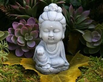 Kwan Yin Statue - READY TO SHIP - Miniature Meditation Altar Statue - Concrete Home or Garden Decoration