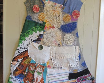 cat & the fiddle - Patchwork Couture maxi dress - Collage Clothing Wearable Folk Artist Art  Artisan - Recycled Fabric Scraps - my Bonny