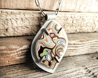 Fordite necklace, Detroit Agate necklace, fordite jewelry, girlfriend gift for wife, sterling silver statement necklace, gemstone jewelry