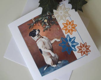 Christmas Greeting Note Card Jack Russell Terrier Illustration - I Will Post for You - EnglishPreserves