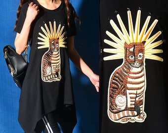 SALE - Missing cat - embroidered cat patchwork hoodie dress / asymmetrical short sleeve T-shirt / summer cotton tunic (Y318)
