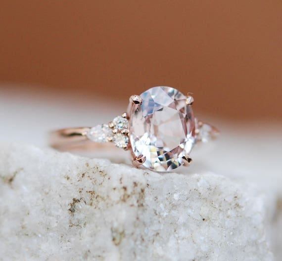 Moody Engagement Ring. 3ct Color change sapphire ring. Rose gold engagement ring Campari ring oval ring Sapphire ring by Eidelprecious