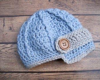Newborn Boy Beanie, Baby Boy Newsboy Cap, Crochet Baby Boy Hat, Beanies for Baby Boys, Boy Winter Hat, Baby Boy Coming Home Hat, Infant