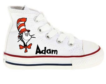 Cat in the Hat Shoes - Dr Seuss Custom Kid Converse Shoes - Custom Personalized High Top Converse Shoes